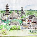 Dessin du temple Pura Besakih