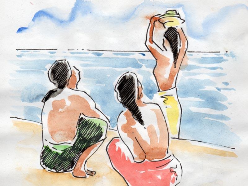 Balinaises et balinais sur une plage.