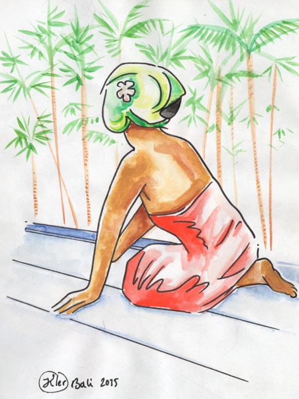Balinaise de dos et en sarong