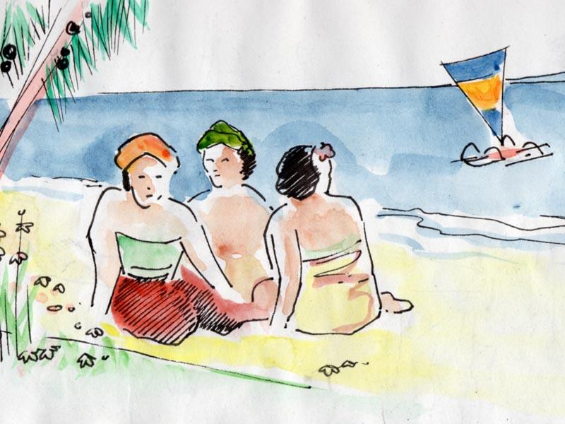 Trois femmes sur le bord de mer.