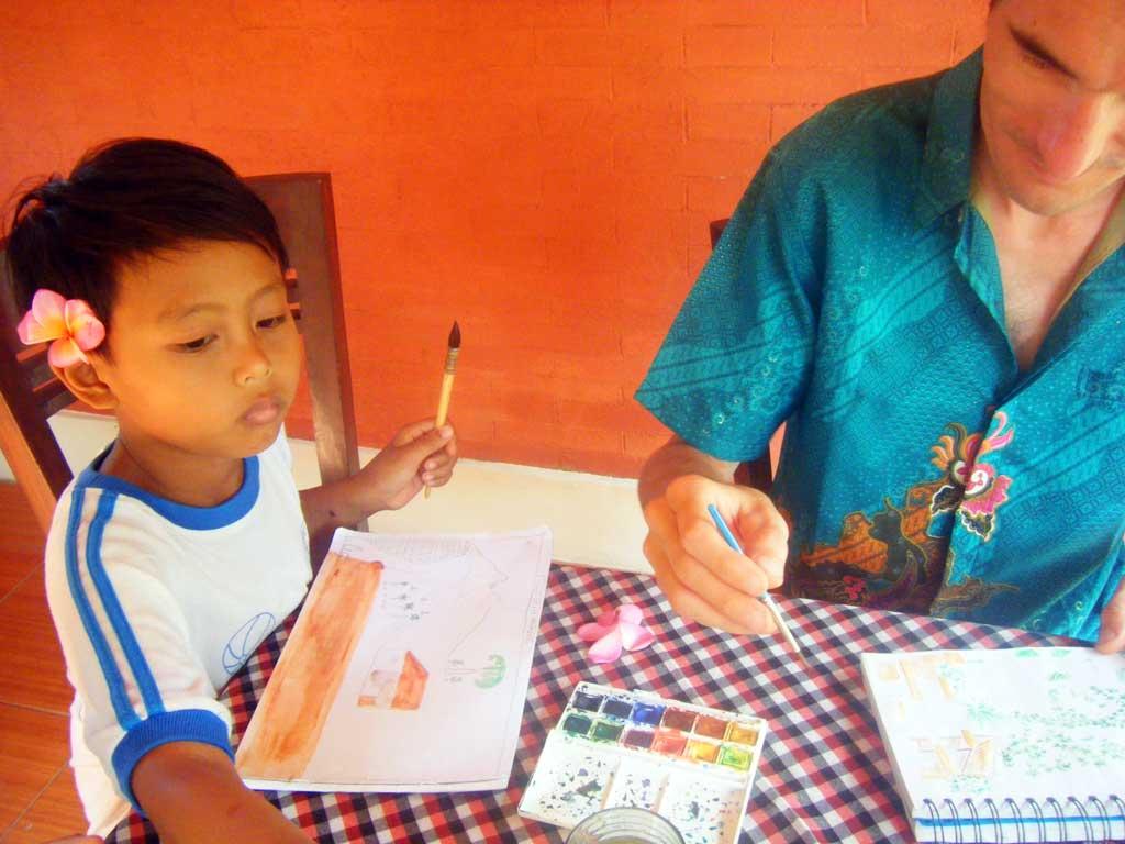 Atelier dessin avec des enfants balinais - Sidemen