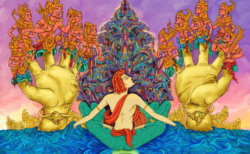 fresque cosmogonie Bali hindouisme